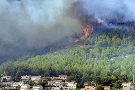 Incendie de forêt dans le massif de l'Estérel durant l'été 2003 qui ont brûlé plus de 18 000 ha dans le Var (83) lors de la canicule estivale. La fréquence des évènements climatiques associés à ces feux extrêmes est prévue pour être multipliée par 6 dans le sud de la France d'ici la fin du siècle (20171-2100, Ruffault et al. 2020). Source photo : SDIS83