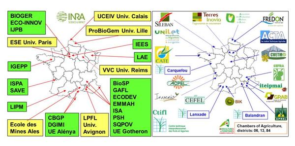 Collaborations nationales de l'équipe MISTRAL de l'unité de pathologie végétale, Inra Paca-Avignon, FRANCE