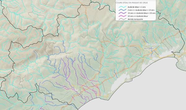 cartographie AIGA Débits produite à 08h00 le 23/10/2019