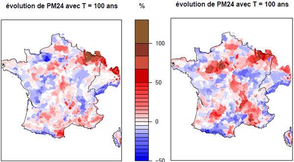 Résultats sur l'évolution de la pluie journalière centennale aux horizons 2050 et 2100