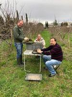 Photo de Franck, Bernadette et Serge sur la parcelle Golden lors de prélèvements