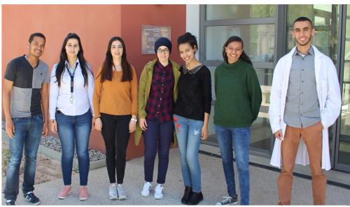 De gauche à droite, Yohan Ottan, Sarra Cherif, Hana Haj Khacem, Khadija Abounida, Inès Nefzi-houimli, Aureliane Hamilcaro & Soufiane Arfai